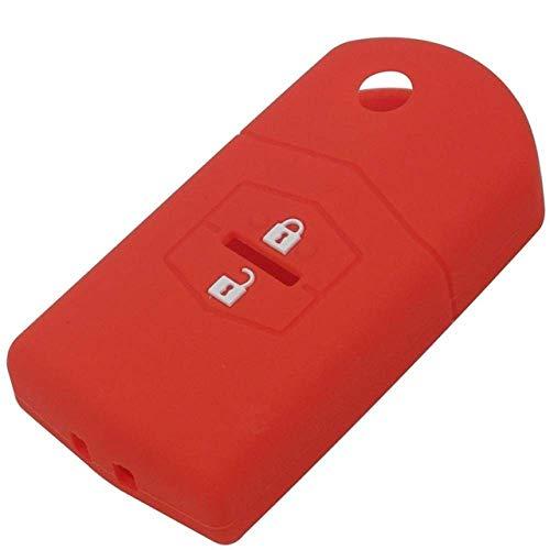 QWASDFG Cubierta De La Llave del Coche Funda De Silicona para Llave, para Mazda 2 3 5 6 8 Cx 5 Cx 5 Cx 7 Cx 9 MX 5 Llavero De Coche 2 Botones Rojo