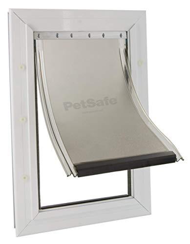 PetSafe Aluminium Hundeklappe, Magnetverschluss begrenzt Zugluft, Aluminium Rahmen, Flexible Klappe, Katzenklappe große Katzen, Hundeklappe großer Hund, XL