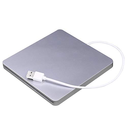 Unidad Externa USB con Ranura en la Unidad, Unidad Externa USB con Ranura para DVD CD RW Unidad súper Delgada Unidad de DVD Externa móvil para Book Pro Air (Plata)