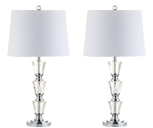 """JONATHAN Y JYL2044A-SET2 Layla 27"""" Crystal LED Lamp Transitional,Glam,Traditional,Contemporary for Bedroom, Living Room, Office, College Dorm, Coffee Table, Bookcase, Clear with White Shade, 2 Piece"""