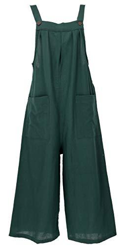 GURU SHOP Sommerliche Latzhose, Ethno Style Oversize Einteiler, Overall, Damen, Dunkelgrün, Baumwolle, Size:M (38), Lange Hosen Alternative Bekleidung