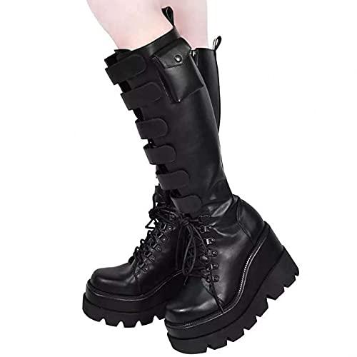 Padaleks Mujer Botas Invierno Encaje Plataforma Tacón Cuña Zapatos Punk Gótico Equitación Cuero Negro Bota Alta a la Rodilla