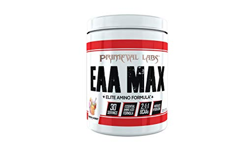 Primeval Labs EAA Max, Essential Amino Acids Supplement Powder, BCAAs, EAAs, Electrolytes, Enhance Performance, Support Hydration, Improve Muscle Recovery, Keto Friendly, Rainbow Sherbet, 30 Servings
