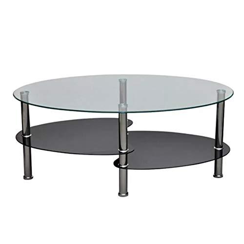 Wakects Mesa de café ovalada moderna de cristal templado, mesa auxiliar de 3 niveles, color negro,...