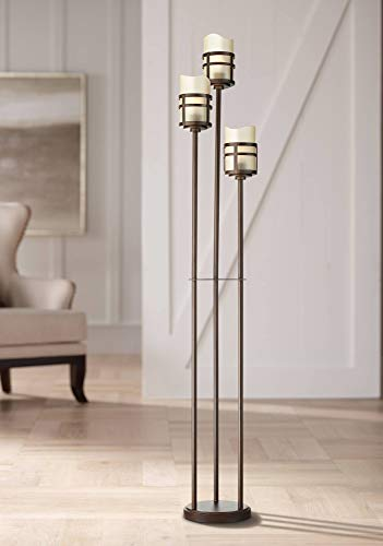 Carob Modern Farmhouse Rustic Torchiere Floor Lamp 3-Light Tree Oil Rubbed Bronze Amber Scavo Glass Shades for Living Room Bedroom Office Uplight - Franklin Iron Works