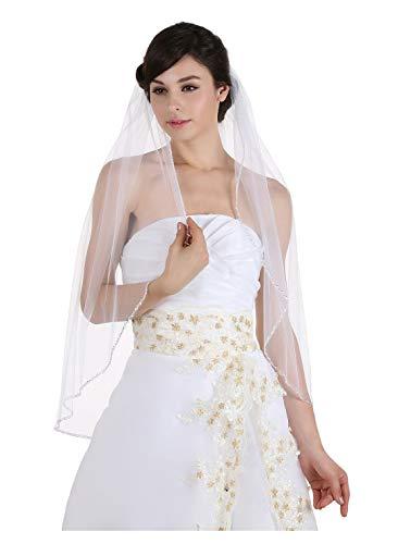"1T 1 Tier Crystals Pearls Beaded Wedding Veil (Fingertip Length 36"" Ivory)"