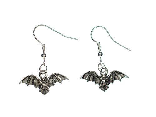 Miniblings Fledermaus Vampir Halloween Ohrringe - Handmade Modeschmuck I silbern - Ohrhänger Ohrschmuck versilbert