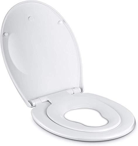 Amzdeal Tapa y Asiento para Inodoro, Tapa de WC de plástico duro con Cierra Suave, Tapa de Indorno Familiar para Niños y Adultos , Blanco