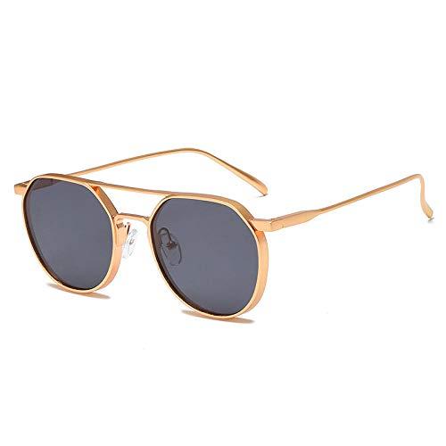 Gafas de sol de metal gafas de sol gafas de sol femeninas montura de gafas de sol de montura pequeña de moda-montura dorada pieza gris