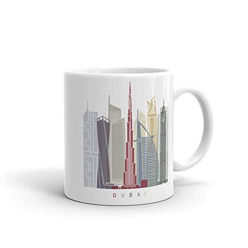 Taza de café de los Emiratos Árabes Unidos de Dubái, idea de regalos de la taza del hogar, taza de té, regalos del día de Acción de Gracias, regalo de Navidad, 15 onzas