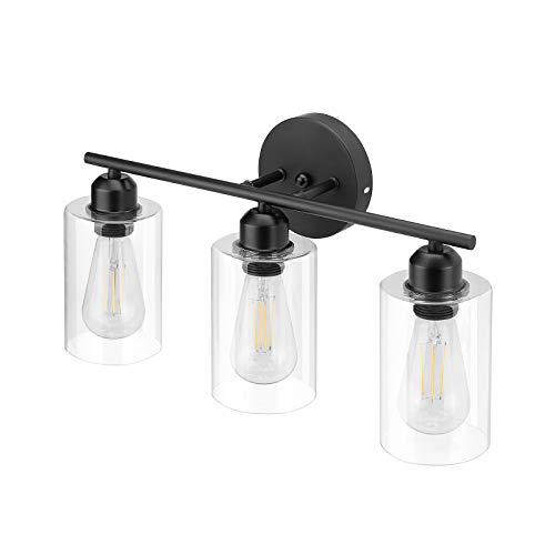Espird 3 Light Bathroom Vanity Light Fixtures Black,Rustic Farmhouse Vanity Lighting Over Mirror Modern Industrial Kichler Lamp with Cylinder Glass Shade