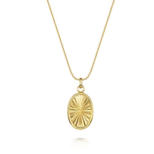 Women's 18ct Gold Vermeil Necklace, Olivia Cooper Sophie Sunray Oval Pendant, 42cm+5cm, Luxury Jewellery Packaging, Mother's Day Birthday Anniversary Present