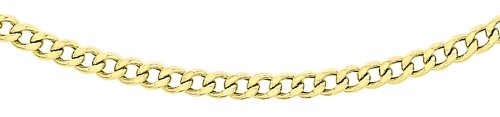 Carissima Gold Unisex 9 ct Yellow Gold 1.9 mm Flat Curb Chain Necklace of Length 51 cm/20 Inch