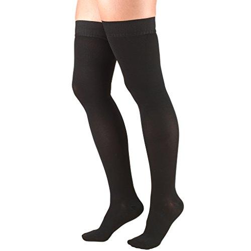 Medias de compresión Truform 30-40 mmHg para hombres y mujeres, muslo de alta longitud, punteado, puntera abierta, negro, mediano
