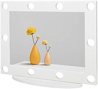 Waneway Espejo con 10 Agujeros Pretaladrados Compatibles con Conjunto de Luces Estilo Hollywood Espejo de Maquillaje de M...