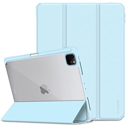 CACOE Hülle Kompatibel mit iPad Pro 12,9 2021/2020, Schutzhülle mit transparenter Rückseite & Stifthalter, mit Auto Schlaf/Wach Funktion, Himmelblau
