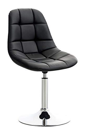 CLP Lounger Emil mit Kunstlederbezug, Esszimmerstuhl mit gestepptem Sitz, Drehstuhl mit Trompetenfuß in Chromoptik, Farbe:schwarz