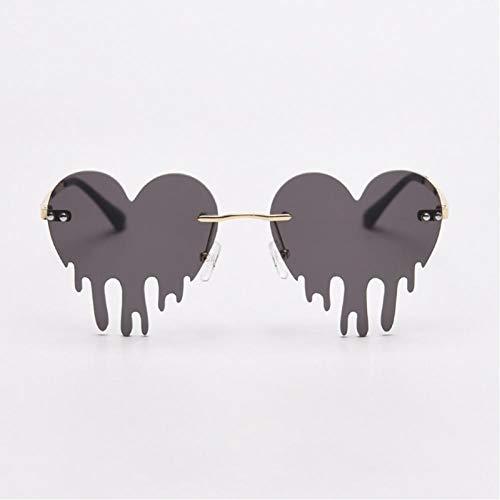 ZZOW Gafas De Sol De Moda Sin Montura con Forma De Corazón Y Amor para Mujer, Gafas De Sol con Lentes Transparentes Únicas Retro para Hombre, Gafas De Sol Amarillas Y Rosas
