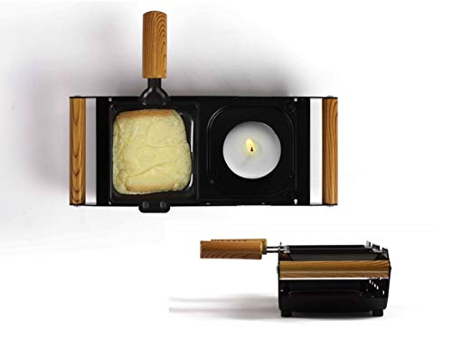 Raclette Grill 2 Personen nicht Elektrisch für Teelicht Tischgrill (2 Pfännchen, Antihaftbeschichtung, für Kerze)