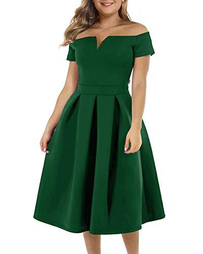 LALAGEN Women's Vintage 1950s Party Cocktail Wedding Swing Midi Dress Cool-Summer-Green XXXL