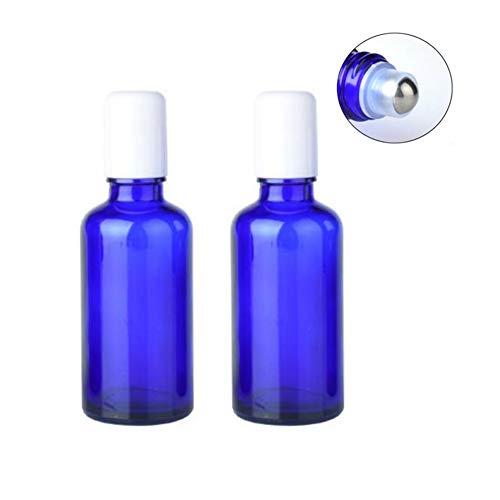 2PCS 50ML 1.7OZ vide bleu bouteille en verre à bille avec couvercle blanc et acier inoxydable bille roulante parfum portable huile essentielle aromathérapie pot support de flacon cosmétique
