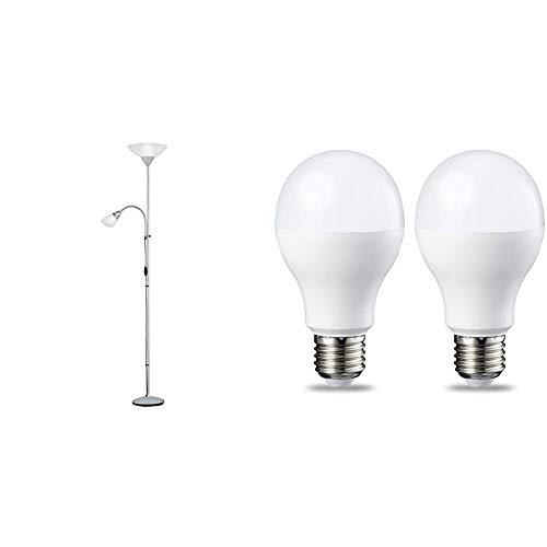 Reality Erzwo - Lámpara de pie con interruptor de cable y pie. + Amazon Basics Bombilla LED Esférica E27, 14W (equivalente a 100W), Blanco Cálido - 2 unidades