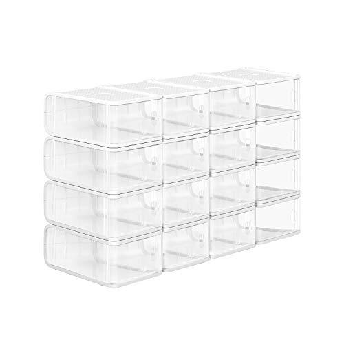 SONGMICS Cajas de Plástico para Zapatos, Paquete de 16, Organizador de Almacenamiento de Zapatos Apilable con Puerta Frontal, Tamaños hasta 42, 21,5 x 32,5 x 13,5 cm, Transparente LSP16TP