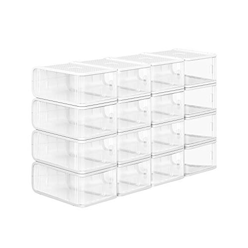 SONGMICS Schuhboxen aus Kunststoff, 16er Set, stapelbare Schuhkartons, Schuhorganizer mit Tür, Schuhaufbewahrung, für Schuhe bis Größe 41, 21,5 x 32,5 x 13,5 cm, transparent LSP16TP