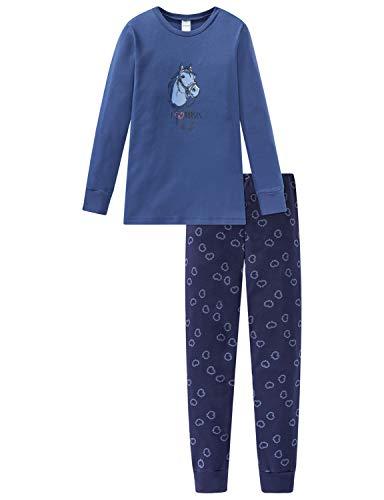 Schiesser Mädchen Pferdewelt Md Anzug lang Zweiteiliger Schlafanzug, Blau (Jeansblau 816), (Herstellergröße: 128)