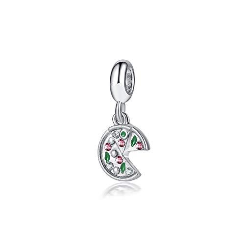 Styliee Regalo di Gioielli, Perle di Fascino, 925 Sliver Bead Rose Gold Enamal Pendant Dangle Charm Fit Bracelet Necklace DIY Women Jewelry Passion for Pizza