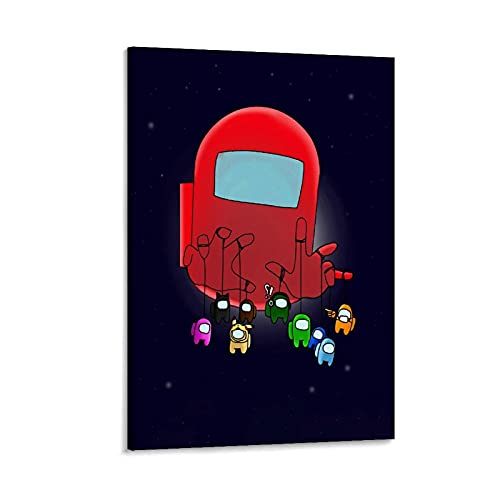 Among Us Games Caracteres rojos estilo nórdico abstracto, lienzo de madera, para arte de pared, imágenes, estampados, lienzo de 40 x 60 cm