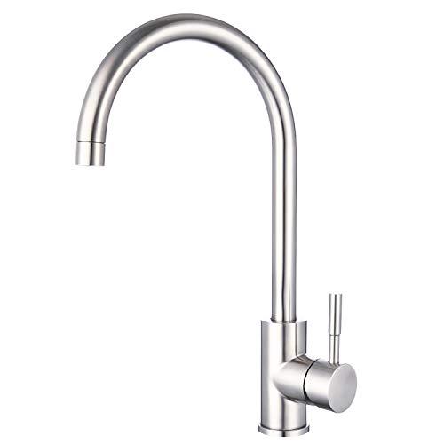 Stainless Steel Kitchen Sink Mixer Taps Monobloc 360º Swivel Spout Single Lever