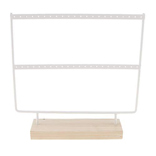 Iycorish Organizador de pendientes de madera, 44 agujeros, para collares, 2 capas, soporte de exhibición de joyas, accesorios de joyería (blanco)