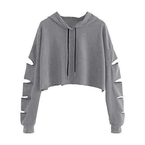 B/N TriLance Frauen Casual Crop Top Cropped Sweatshirts Damen Kragen Langarm Regenbogen gestreifte Hoodies Übergroße Kurze Pullover Pullover für Teen Girls