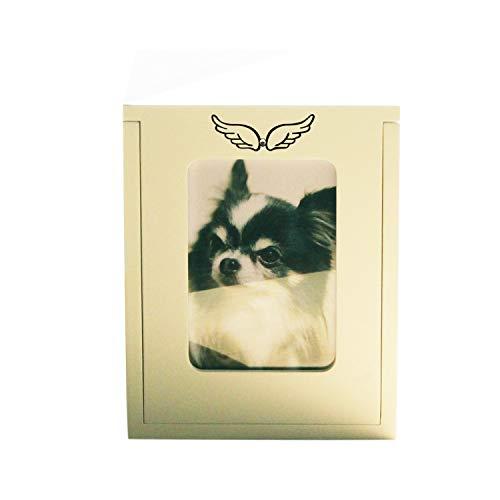【メモリアル工房 響】ペット仏壇 メモリアルBOX ボックス型仏壇 天使のはね ホワイト オリジナル刻印入 2〜4寸骨壷収納