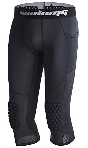 COOLOMG Basketball Pants with Knee Pads Kids 3/4 Compression Tights Black L