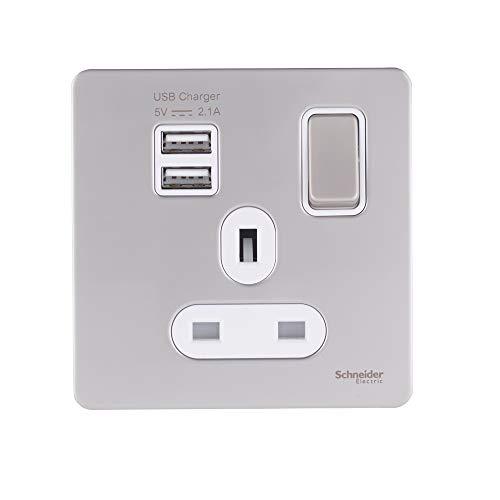 Schneider Electric Ggbgu34102-Usbawpn Ultimate schroef, enkele stopcontacten, kam, 2 x USB SP 2,1 A, Peal Nickel, White
