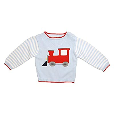 Zubels Baby Boys' Hand-Knit Cotton Train Sweater, All-Natural, 9 Months, Blue