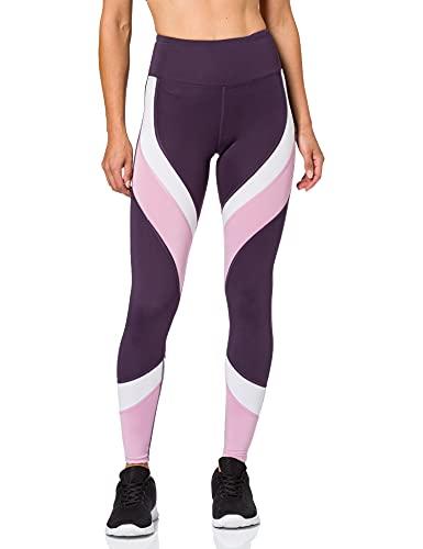 Aurique Leggings deportivos para Mujer, Morado (Nightshade/White/Mauve Mist), L