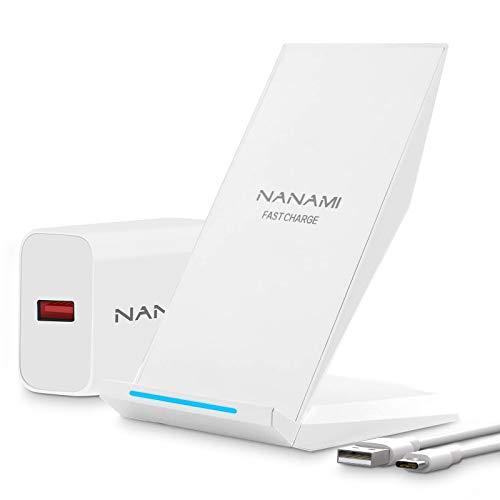 NANAMI Cargador Inalámbrico Rápido,Qi Wireless Charger (con Adaptador QC 3.0) para iPhone 12/11/11 Pro/11 Pro MAX/XS MAX/XR/XS/X/8+/8,10W Carga Rápida para Galaxy S21/S20/S10/S10E/S9/S9+/S8/No