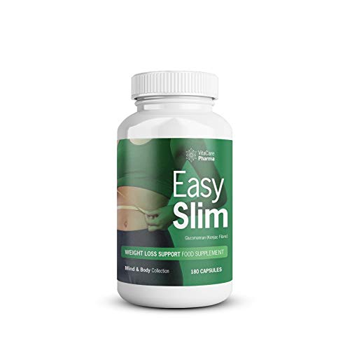EasySlim Weight Loss Support for Men & Women | Glucomannan (Konjac Fibre) | Appetite Suppressant | 1 Month Supply, 180 Capsules | Mind & Body Collection