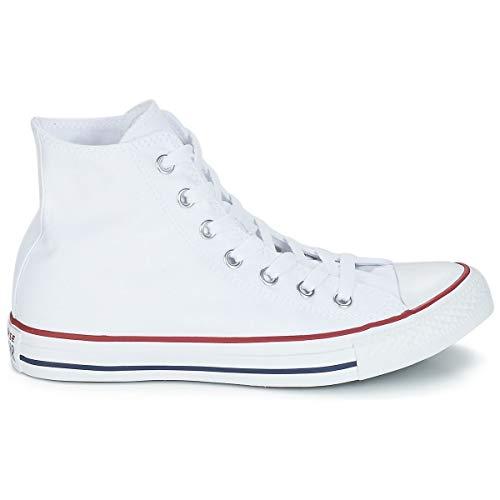 Converse Chuck Taylor All Star High Classic CTAS Hi - Zapatillas altas de lona, unisex, con pegatina de 7 km/h, color Blanco, talla 40 EU