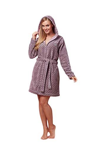 L & L - ZPPR 7119 badstof damesbadjas met lange mouwen. Extreem licht. Ritssluiting badjas met capuchon voor dames.