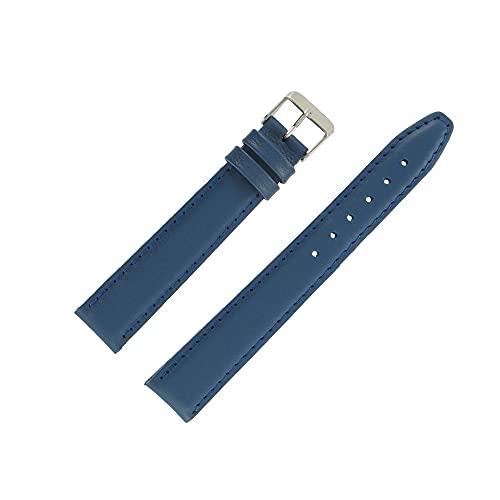 OnWatch - Correa de reloj de 18 mm, color azul europeo, extralarga de piel, fabricación artesanal