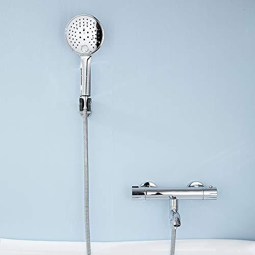 Termostato de ducha para bañera con botón de seguridad de 38 °C con termostato y alcachofa de mano y soporte para ducha de latón y acero inoxidable