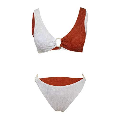 YANFANG Bikini de Mujer Sexy Traje de baño de Tela Especial de Cintura Alta con Cuello en V Profundo 2 Piezas Ajustado para Mujer Sexy Atractivo