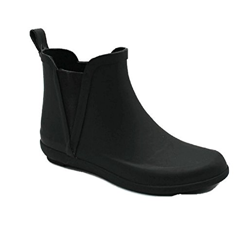 SkaDoo Women's Ladies Short Ankle High Rain Winter All Rubber Black Boots Booties Waterproof All-Weather