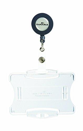 Durable 801119 Namensschild (mit Ausweiskartenhalter für Betriebs-/Sicherheitsausweis) Packung à 10 Stück transparent