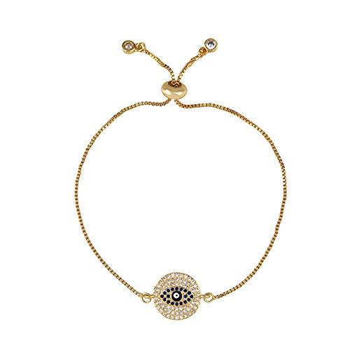 Nobrand Türkisches Evil Eye Armband Für Frauen Cz Rainbow Stone Tennis Armband 24 Karat Gold Evil Eye Schmuck Pulsera De Ojo Turco