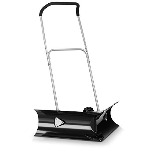 """ORIENTOOLS Dual Angle Rolling Snow Pusher with 6"""" Wheels and Adjustable Handle, Heavy-Duty Snow Shovel Suitable for Driveway or Pavement Clearing (26"""" Blade)"""